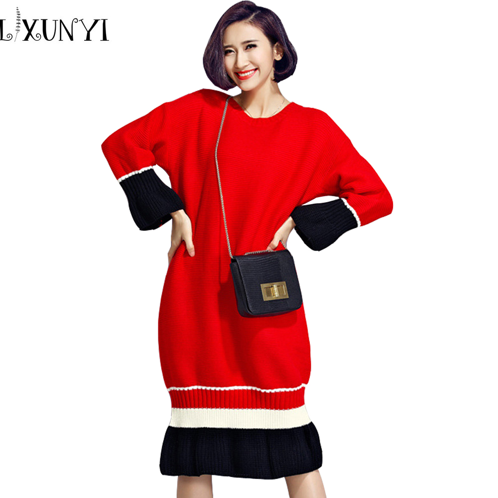 2016 Karean Autumn Winter Big Size Thin Women Wholesale Sweater Dress ukraine Knitting Clothing Patchwork Warm