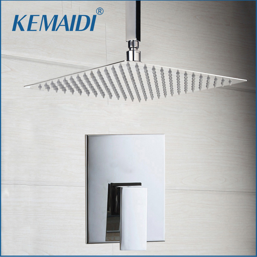 KEMAIDI Wall Mounted Hot Cold Water Mixer Taps Shower Sets Bathroom Ceiling Mount Ultra thin Rainfall