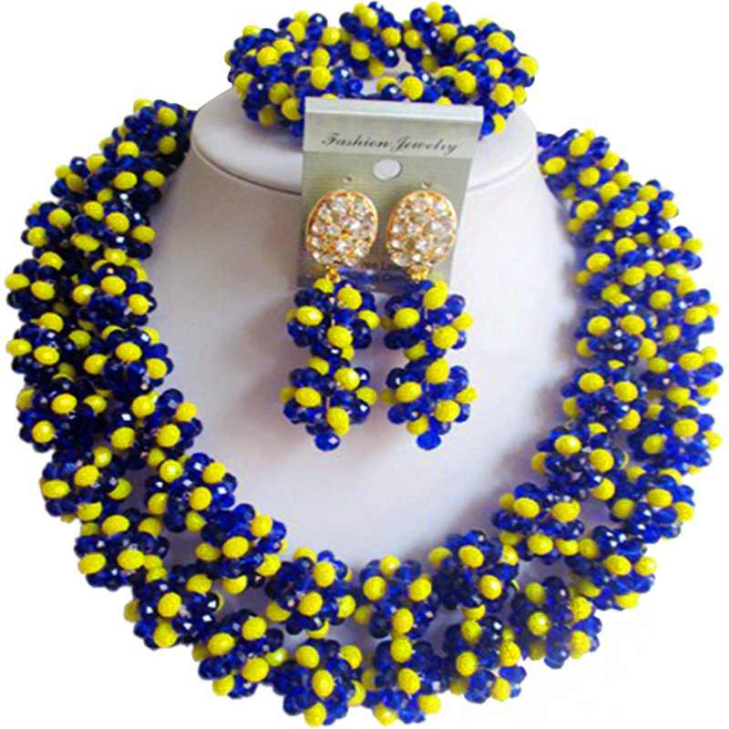 Nice Quality Opaque Yellow Royal Blue African Women Crystal necklace Sets for Anniversary 2C-SJHQ-24