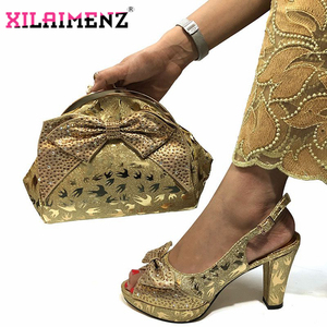 Image 5 - Special Design African Shoes With Matching Bags Set African Womens Party Shoes and Bag Sets Peach Color Women Sandals And Bag