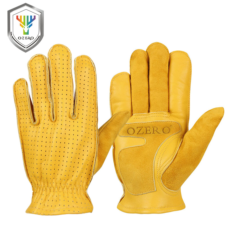 OZERO Work Gloves Mens Summer Leather Genuine Goatskin Driver Security Protection Wear Safety Workers Welding Moto Gloves 5018OZERO Work Gloves Mens Summer Leather Genuine Goatskin Driver Security Protection Wear Safety Workers Welding Moto Gloves 5018