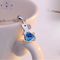 100 Real 925 Pure Silver Cute Little Mouse Ocean Blue Heart Cubic Zirconia Pendants Necklaces For