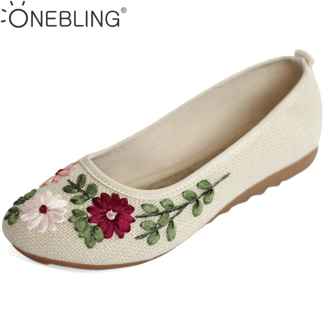 Women's Flower Embroidery Slip-ons Flats Boots