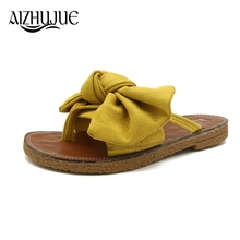 AIZHUJUE 2018 New Women Bow Slippers Spring Summer Autumn Home Flowers Beach  Slippers Home Flip Flops Comfortable Flat Shoes 44c3ab13bf63