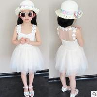 熱い! 2016夏子供ドレスガーゼチュチュプリンセスドレスノースリーブウエディングドレス白いベビードレス送料無料1-6送料無料