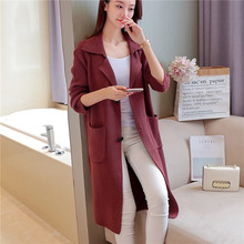 90 new winter long sections of Korean ladies knitting cardigan sweater coat jacket pocket F1958