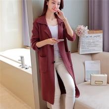 90 new winter long sections of Korean ladies knitting cardigan sweater coat font b jacket b