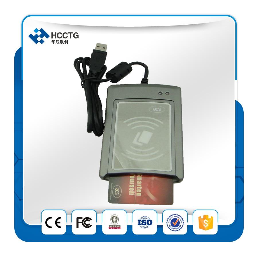 USB 13.56 MHZ et 4 MHZ double Interface lecteur de carte à puce IC intelligent et écrivain et programmeur ACS ACR1281U-C1 avec SDK CD et 5 pièces M1