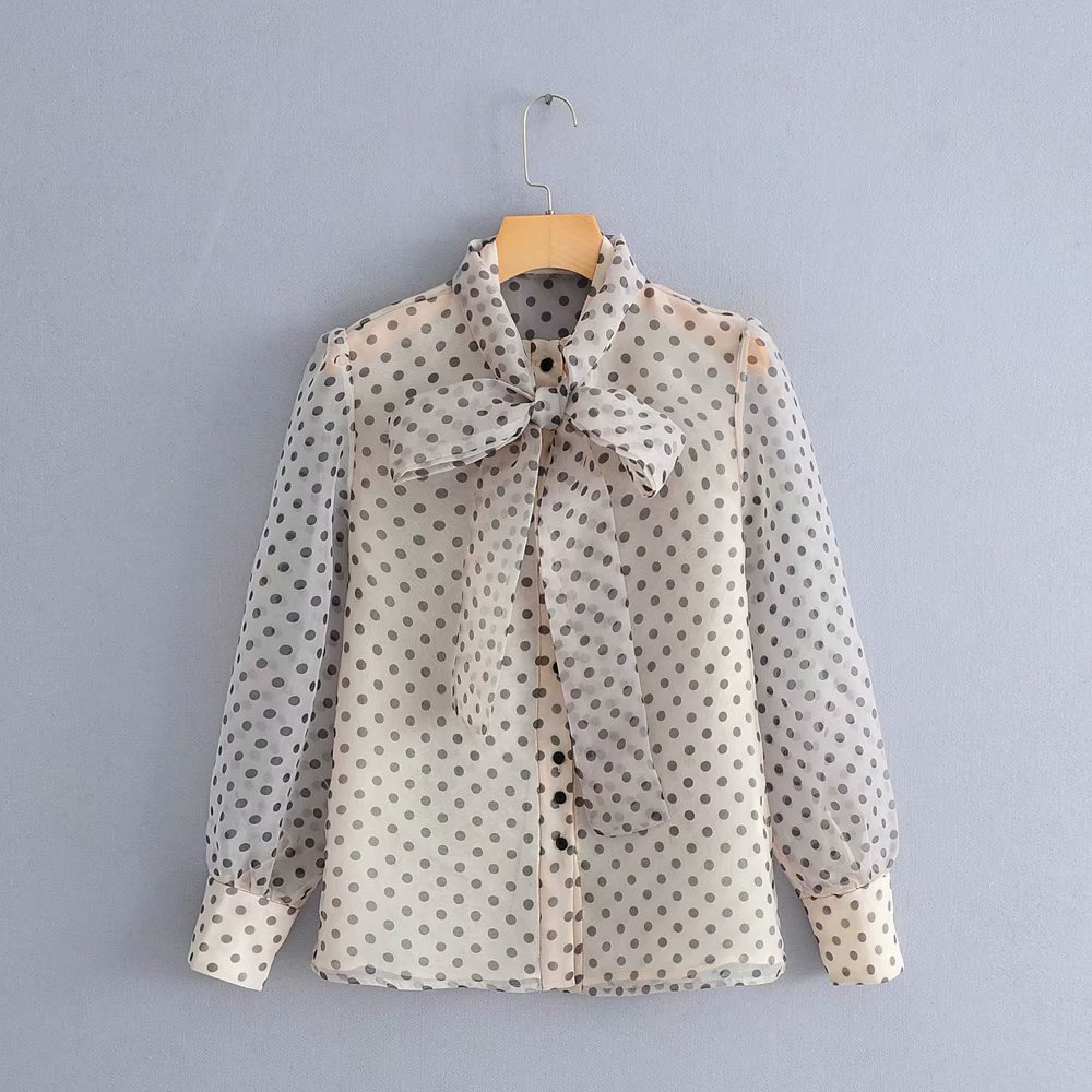 2019 New Women High Street Polka Dot Print Causal Smock Blouse Shirts Women Long Sleeve Chic Organza Blusas Chemise Tops Ls3286 Providing Amenities For The People; Making Life Easier For The Population Women's Clothing
