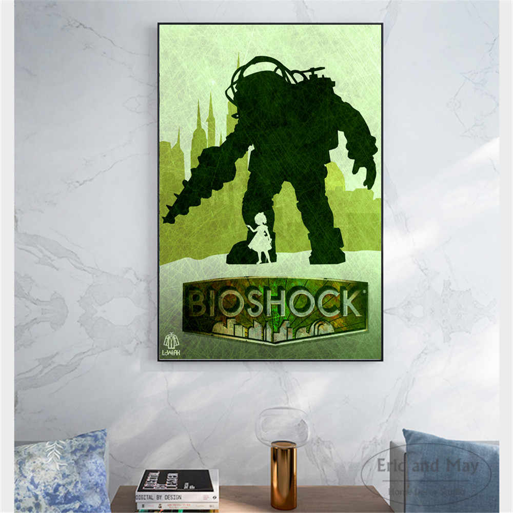 Vintage bioshock video game canvas art print painting modern wall picture home decor bedroom decorative posters no frame cuadros