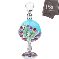 H D Vintage Butterfly Colorful Lampwork Flower Crystal Antiqued Empty Home Decor Refillable Blue Perfume Bottle
