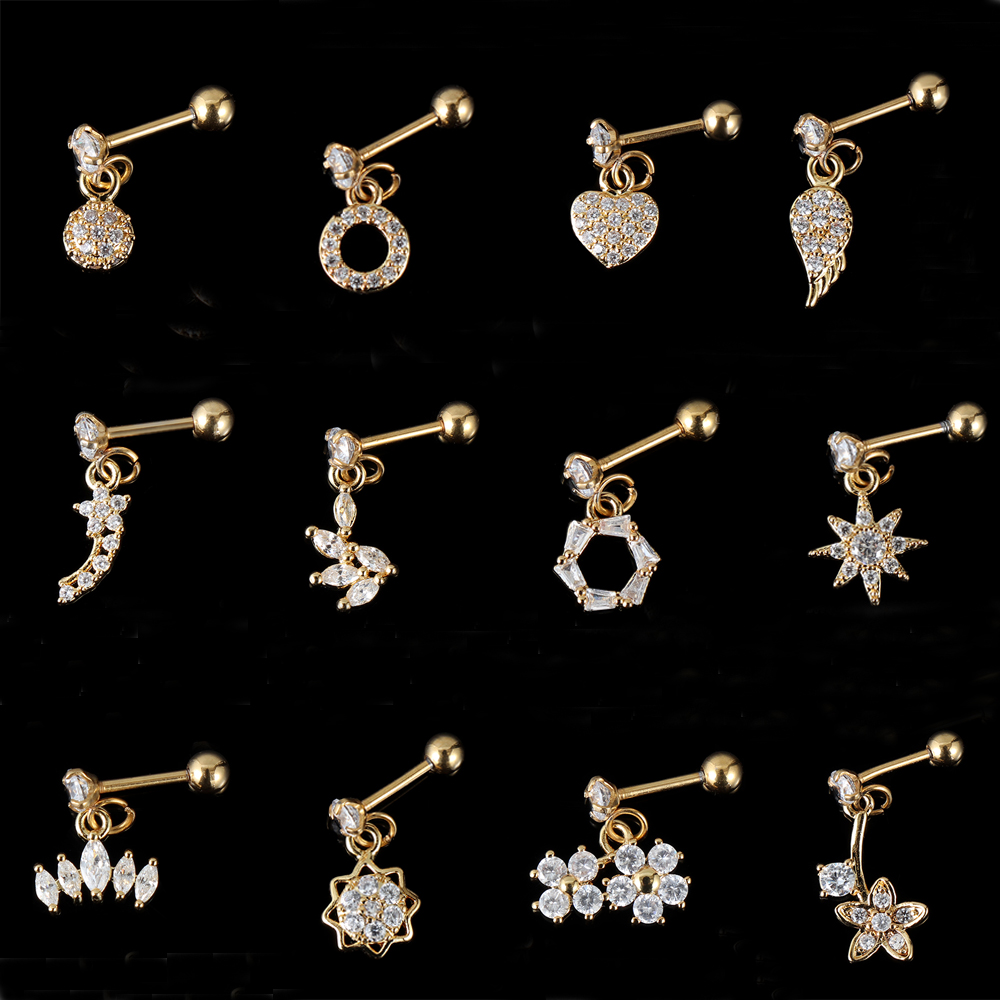 body piercing jewelry Gold heart hexagon crystal tragus ear piercing plug stainless steel daith earrings helix cartilage studs