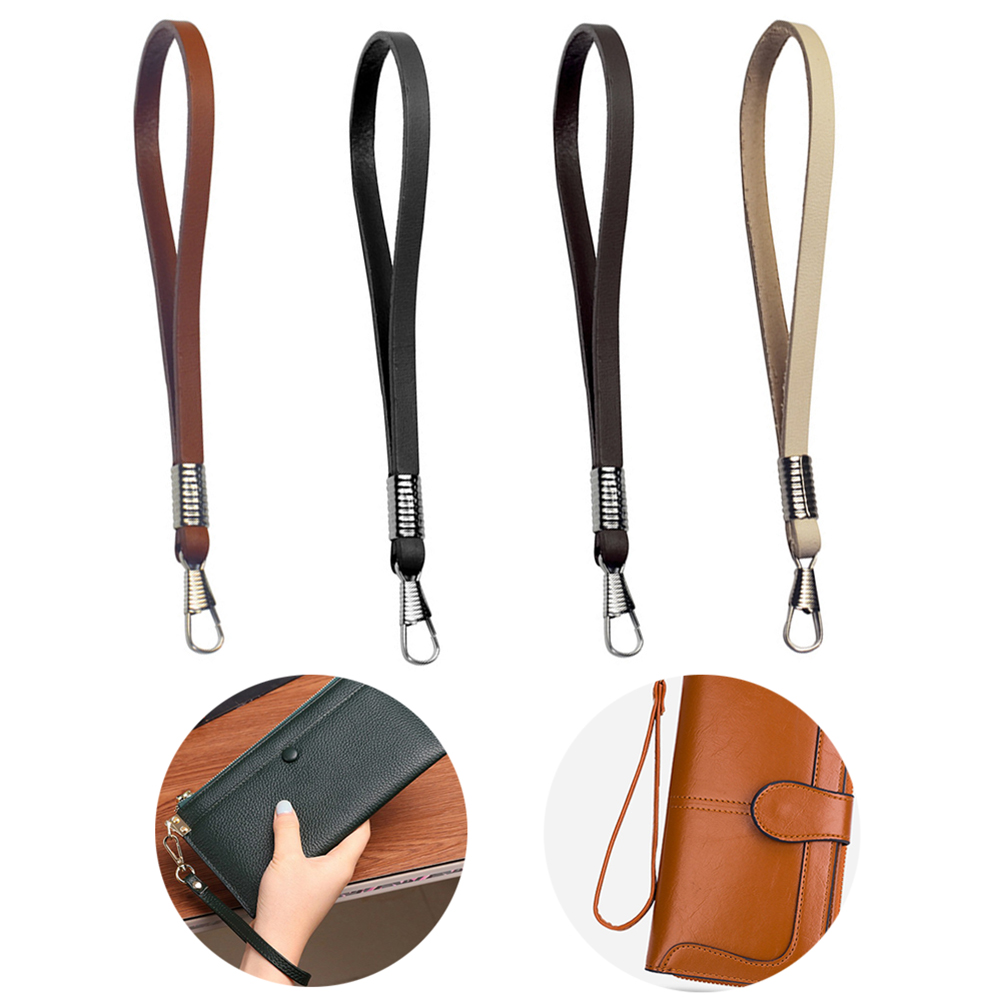 Fashion Women Bag Strap PU Replacement Wrist Bag Strap Purse Bag Leather Clutch Bag Strap Small Wallet Metal Belts Coffee Black
