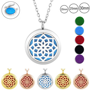 With Chain as Gife! Wholesale 20mm 25mm 30mm 316LStainles Steel Essential Oil Diffuser Perfume Locket Necklace
