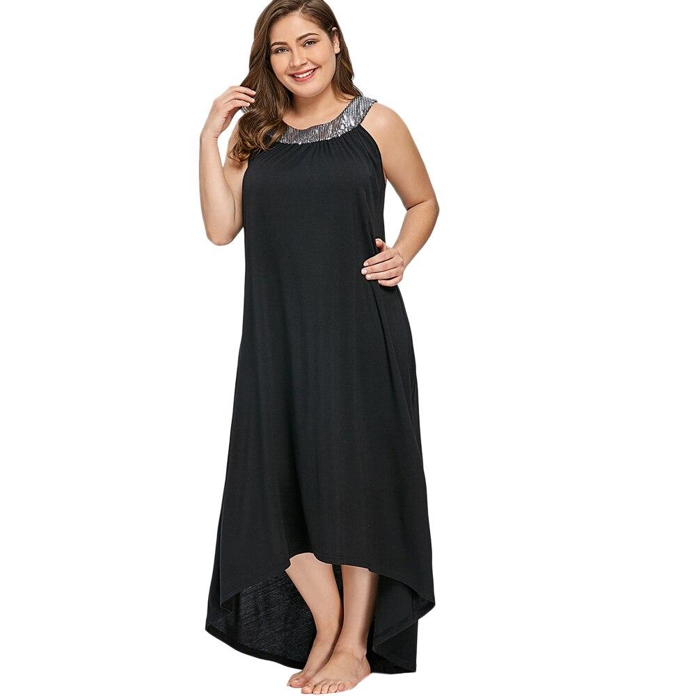 dd5df1623a2d Gamiss Plus Size 5XL Sequins Collar Sleeveless Maxi Dress Women ...