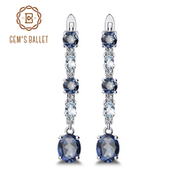 Gem's Ballet 925 Sterling Silver Fine Jewelry 5.56Ct Natural Iolite Blue Mystic Quartz Sky Blue Topaz Clip Earrings For Women
