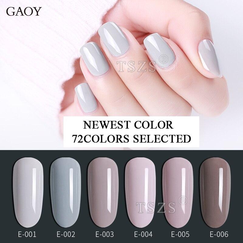 6pcs/lot Gaoy 72 Newest Color 7.3ml UV LED Gel Nail Polish Manicure Long Lasting Soak Off Salon