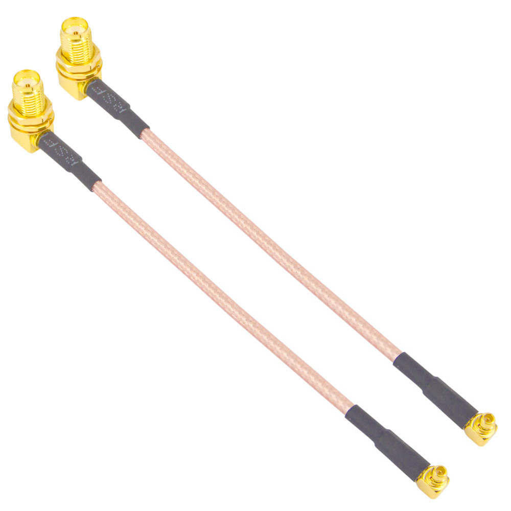2 Pieces SMA Female bulkhead Right angle with nut to  MMCX male Right angle  RG316 12cm Pigtail Cable2 Pieces SMA Female bulkhead Right angle with nut to  MMCX male Right angle  RG316 12cm Pigtail Cable