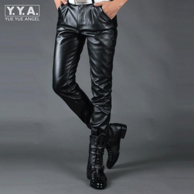 86d18dc93946 High Quality Mens Leather Pants Hip Hop Fashion Mens Motorcycle Skinny PU  Trousers Faux PU Leather Slim Fit Pantalones Hombre