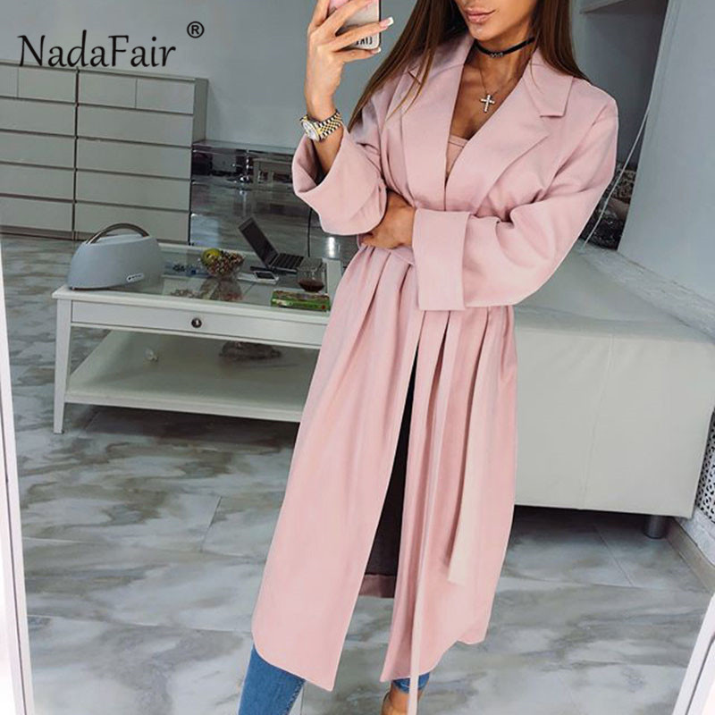 Nadafair new autumn pink x-long   trench   coats women open stitch female turn-down collar sash thin slim elegant casual overcoats