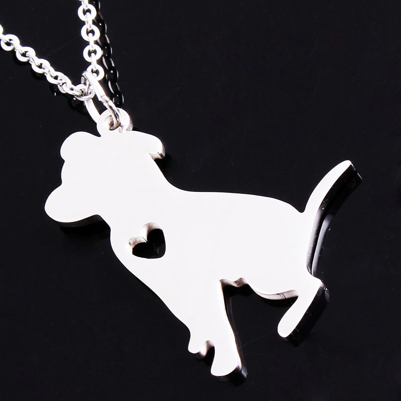 A Girls Best Friend Cute Pitbull Necklaces Guardian Angel Delicate Puppy Pets Charm Pendant Women Christmas Gift Animal Jewelry