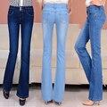 Мода Новый Темно/светло-голубой середина талией джинсы узкие легко flare джинсы femme плюс размер джинсовые брюки s29