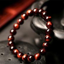 الحد الأدنى 8 مللي متر الحجر الطبيعي سبحة صلاة النمر سوار بحليات العين الزرقاء اليدوية الأحمر براون الحجر الطبيعي براكليت للرجال اليوغا مجوهرات أوم