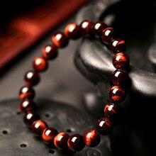 Minimalistische 8Mm Natuursteen Gebed Kralen Tiger Eye Armband Handgemaakte Rood Bruin Natuursteen Armband Voor Mannen Yoga Sieraden homme