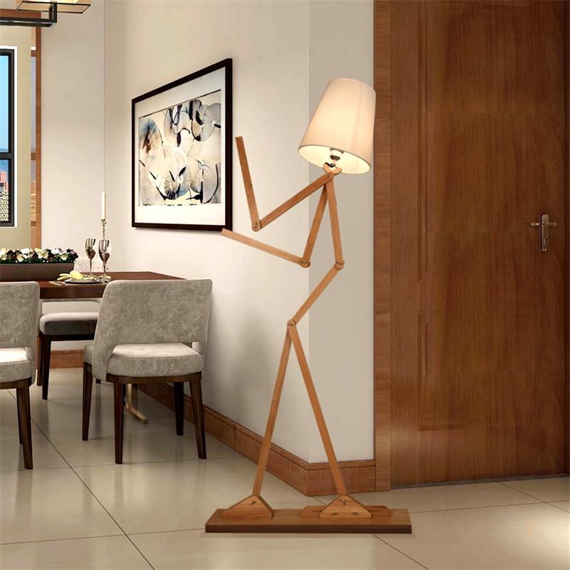 Creative Human Figure Floor Lamps Wooden Log Fabric