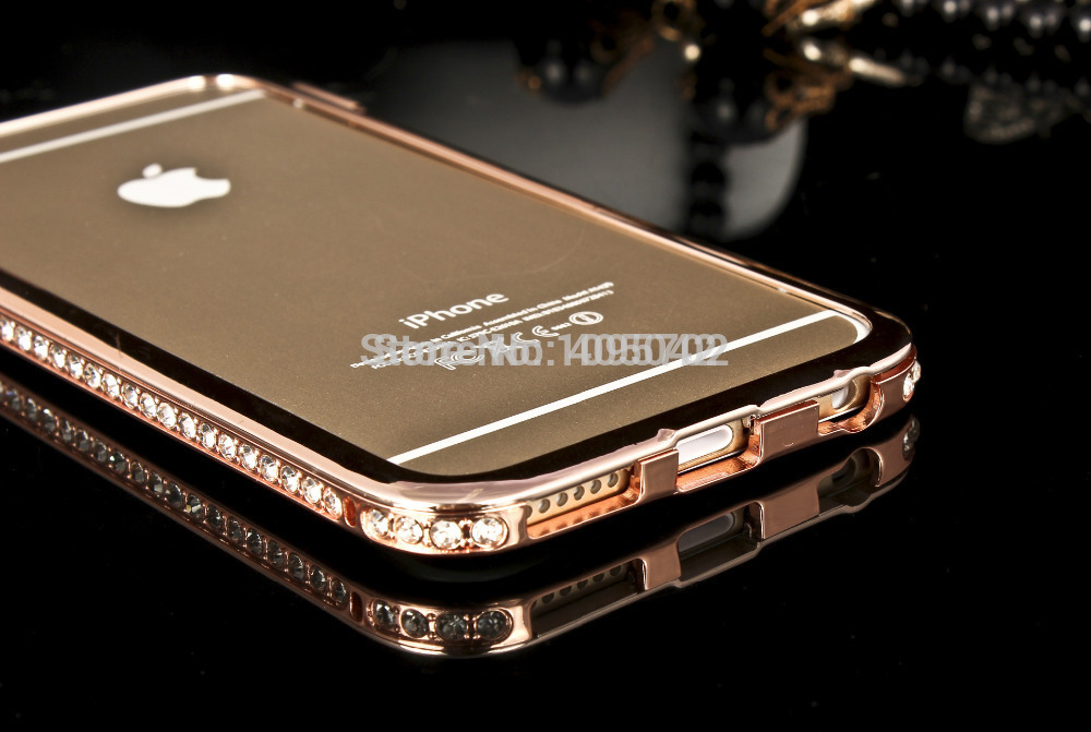 Mix Color Luxury Metal Frame Bling Bling Crystal Bumper Case Shockproof Hard Cover For Apple iPhone 6 4.7''