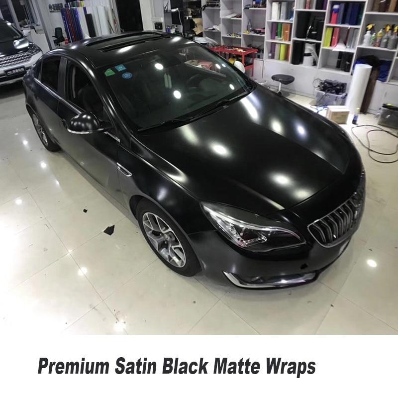 premium quality satin Black Matte Vinyl Car Wrap Air Bubble Free For Car Wrapping Foil size 5ft X 65ft/Roll high quality stretchable chrome black vinyl wrap sheet roll for car wrapping air free bubble