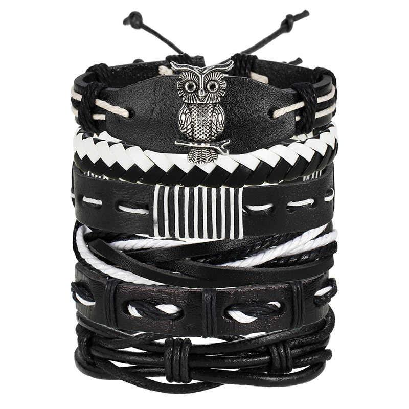 IF ME, модные, несколько слоев, панк, кожаные браслеты, мужские, классические, веревка, цепочка, талисманы, браслет для мужчин, нарукавная повязка, ювелирные изделия, подарки