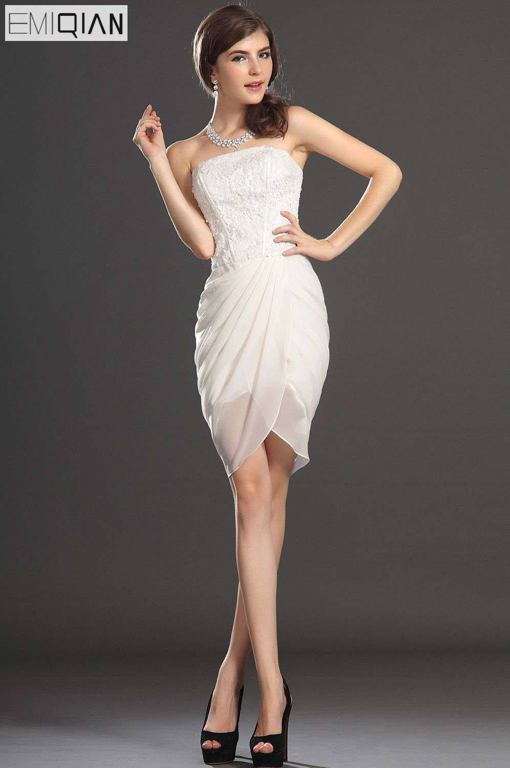 Free Shipping New Lovely Strapless Sheath Gown Sequined Cocktail Dress
