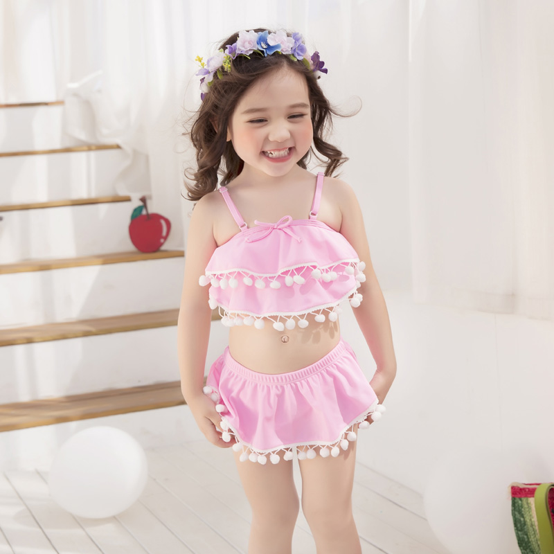 ⊰Girl Pink Swimsuit Kids bikini set niños dos piezas traje de baño ...