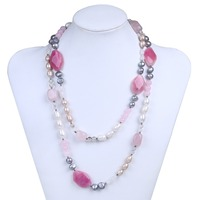 Bohemia Multi Color Real Pearl With Pink Soapstone Crystal Choker Jewelry Strand Necklace For Women
