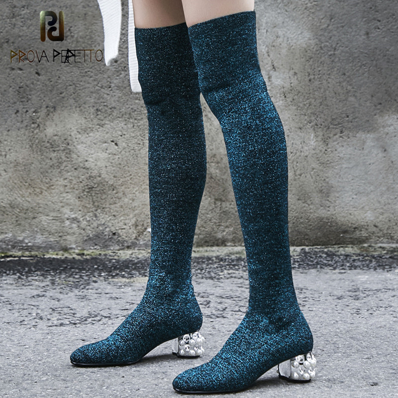 Prova Perfetto 2018 Fashion Bling Crystal High Heel Socks Boots Women Over The Knee Thigh High Boots Lady Knitting Stretch Boots