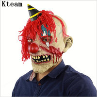 New Hot Deluxe Horrible Scary Clown Mask Adult Men Latex Red Hair Halloween Clown Evil Killer Demon Clown Mask Funny Scary Mask