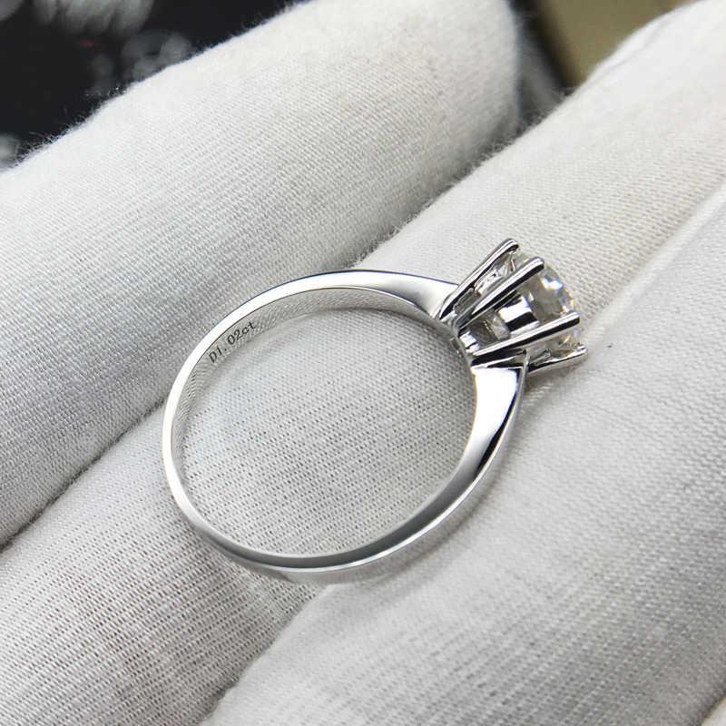 Chất liệu bạc 925 1CT 2ct 3ct Cổ Điển Moissanite Nhẫn Phòng Tròn Kim Cương Rực Rỡ Cắt trang sức Nhẫn Cưới Đính Hôn