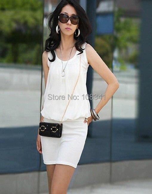 ecef8d3e567210 Hot Kobiety Szyfonowa Sukienka OL Elegancki Krotnie Szwy Slim Casual Mini  Sukienka Zbiornik Pełny Kolor Lato Moda Sukienka
