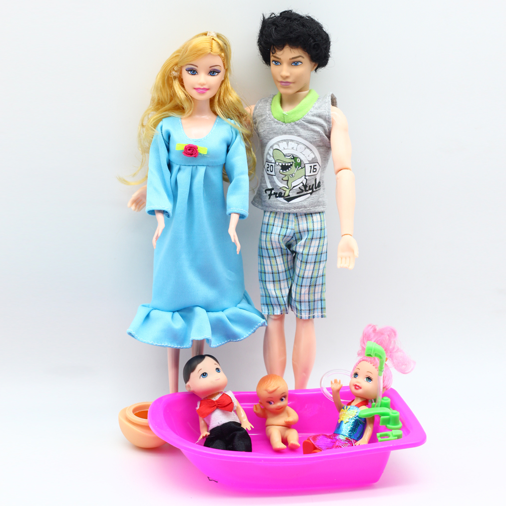 1set Doll Baby Suits 1Mom /1Dad /2 Daughter/1 Son /1 Baby bathtub Real Pregnant Reborn Toys For Barbie dolls Children er026