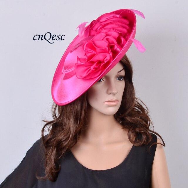 06a7652e3246c NEW ARRIVAL! Hot pink Large saucer base satin fascinator hat for ...