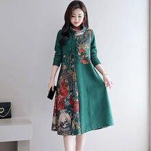 87c1cbd6228342 Groene midi vrouwen jurk een lijn vintage elegante plus size grote robe  jurken herfst winter lange
