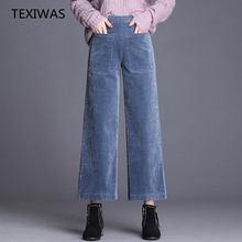 558945b0685d0 TEXIWAS Autumn Winter loose Plus Size Wide Leg Pants Women Corduroy Pants  Warm Elastic Pleated Palazzo Trousers Pants streetwear