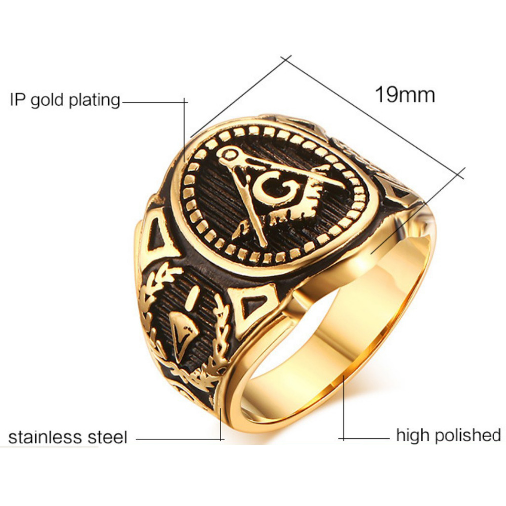 Vintage Men Masonic Rings Quality Stainless Steel Jewelry Wedding Band For Retro Gold Color Titanium Punk: Masonic Wedding Band Anium Ring At Reisefeber.org
