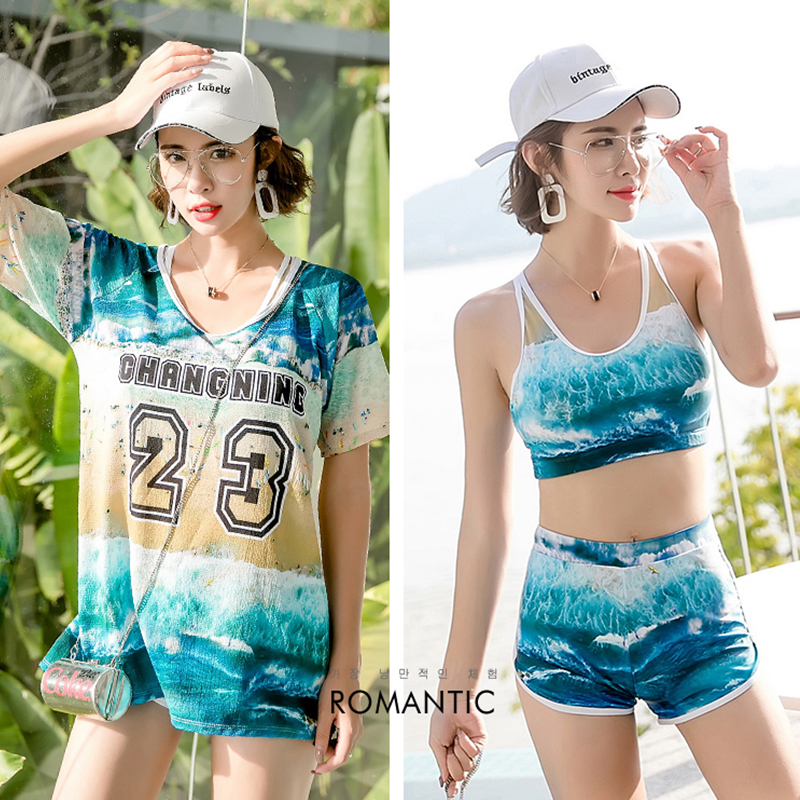Three pieces sports swimsuit long T shirt padded bra shorts blue purple print with letters numbers