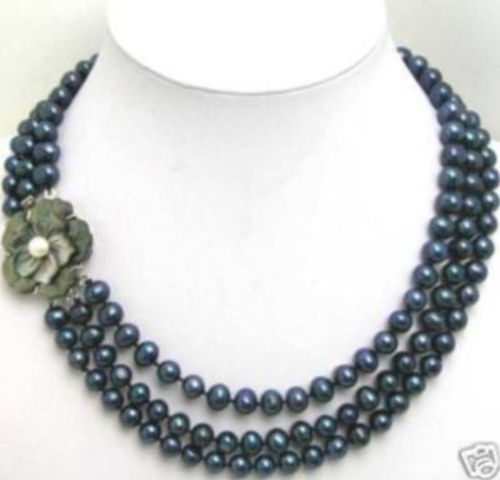 3Row 7-8mm Black pearl Necklace Flwoer Shell Clasp>>>Free shipping