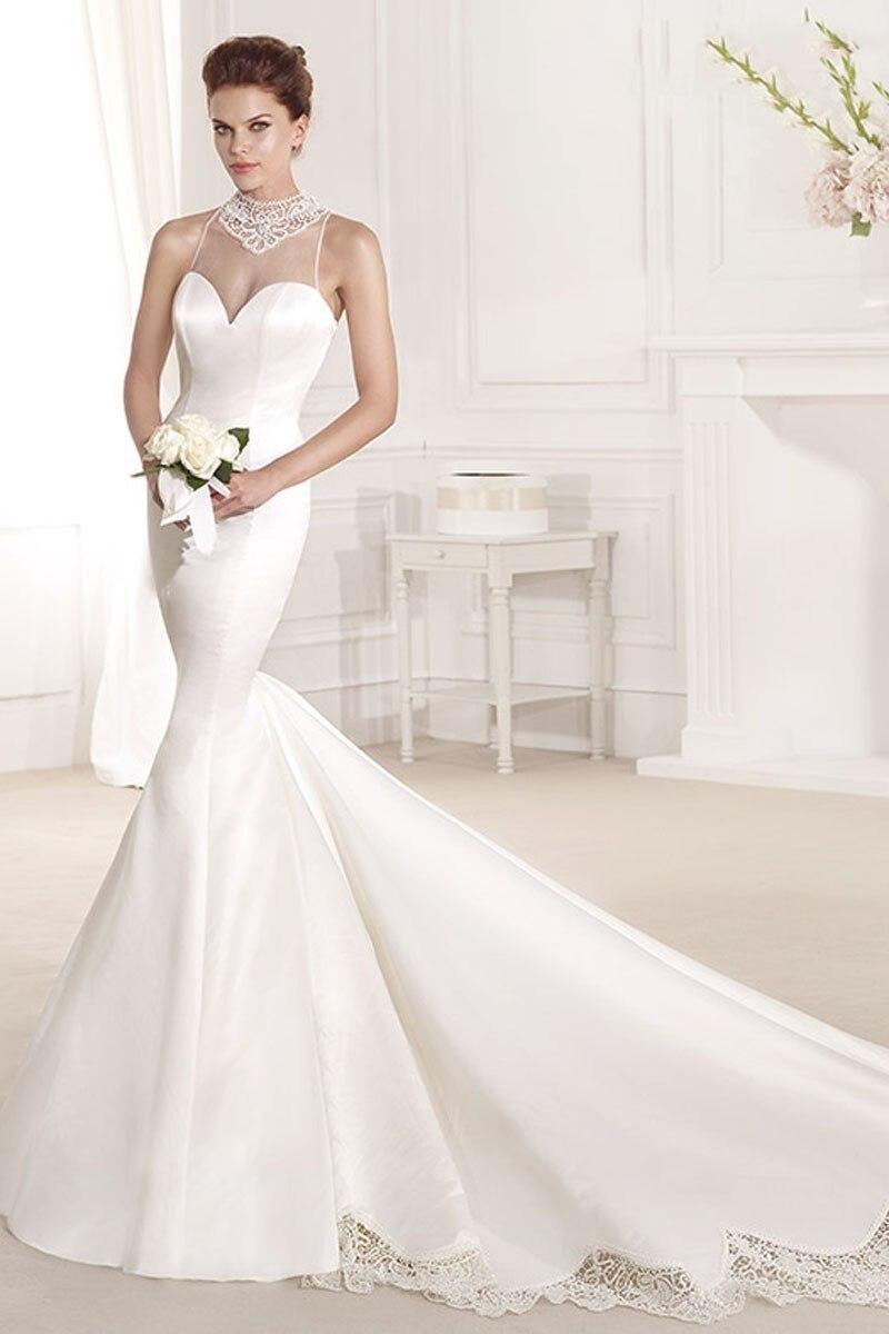 Online Vintage High Neck Tank Top Wedding Dresses 2017 Robe