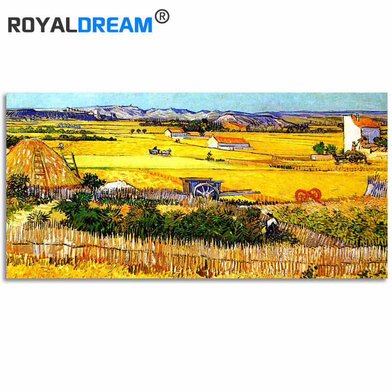 ROYALDREAM Van Gogh-Harvest DIY Painting By Numbers Acrylic Paint By Numbers HandPainted Oil Painting On Canvas For Home Decor