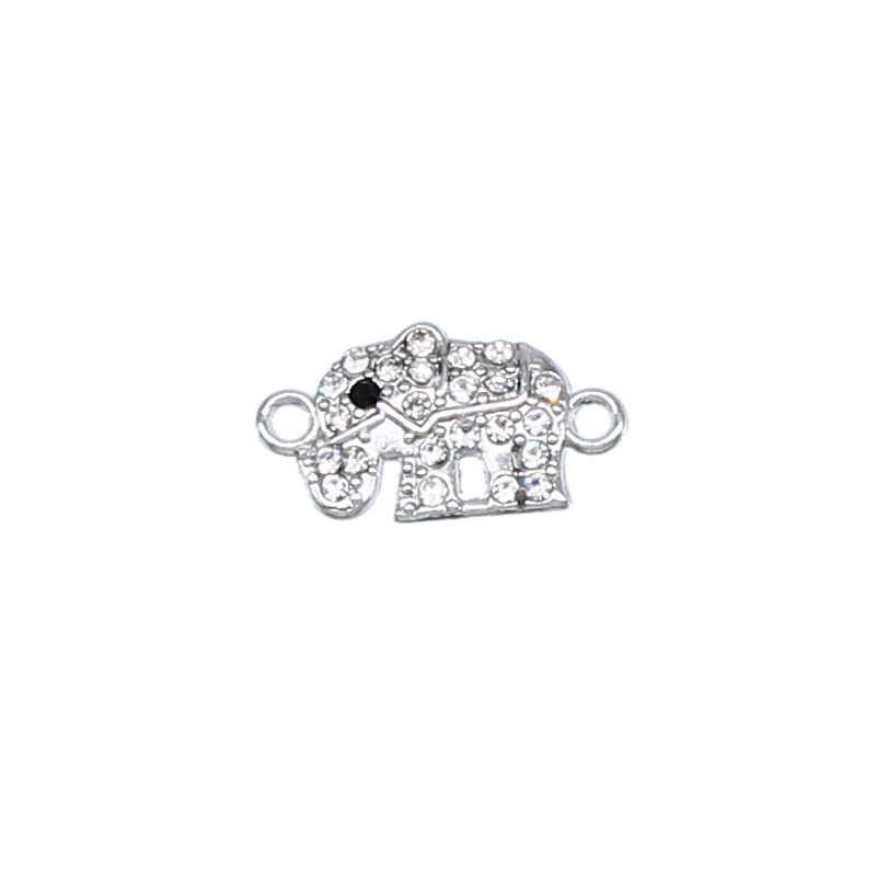 6 pièces mignon éléphant strass bracelet à bricoler soi-même à la main poignet bijoux accessoires dames bracelet double pendentif suspendu