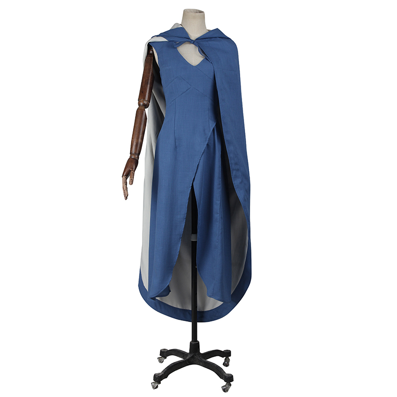 Film Game of Thrones Daenerys Targaryen Cosplay Costume Blue Dress Cloak Holloween A Song of Ice